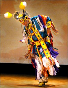 Wylie Bearstail performs a traditional grass dance at the National Museum of the American Indian (Photo by Ken White)