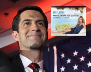 Images from today's Washington Post story include Senator Tom Cotton and a Viagra ad. Photo credit Danny Johnston, Associated Press